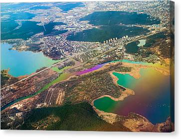 Somewhere Over Latvia. Rainbow Earth Canvas Print by Jenny Rainbow