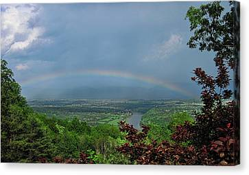 Somewhere Over The Blue Ridge Canvas Print by Lara Ellis