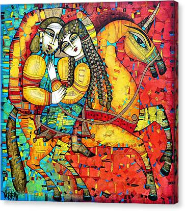 Couples Canvas Print - Sonata For Two And Unicorn by Albena Vatcheva