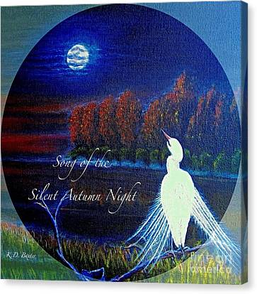 Song Of The Silent  Autumn Night In The Round With Text  Canvas Print by Kimberlee Baxter