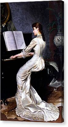 Song Without Words, Piano Player, 1880 Canvas Print by George Hamilton Barrable