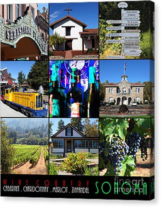 Traintown Canvas Print - Sonoma County Wine Country 20140906 With Text by Wingsdomain Art and Photography