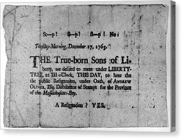 Sons Of Liberty Broadside Canvas Print by Granger