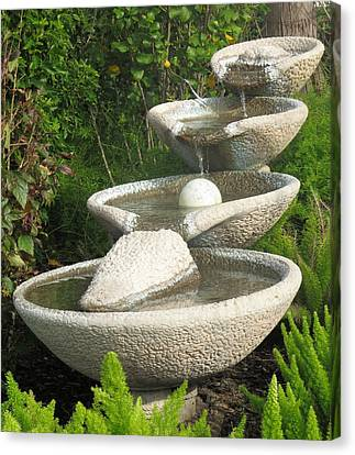Canvas Print featuring the photograph Soothing Sounds Water Fountains by Ella Kaye Dickey