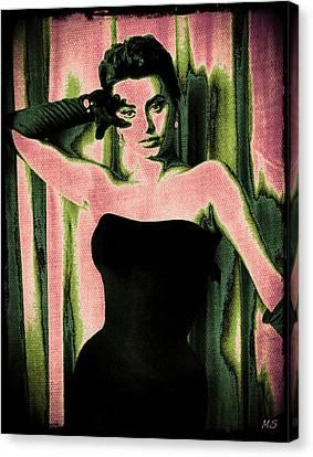Sophia Loren - Pink Pop Art Canvas Print by Absinthe Art By Michelle LeAnn Scott