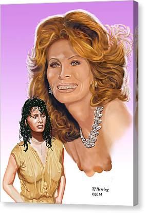 Canvas Print featuring the digital art Sophia Loren by Thomas J Herring