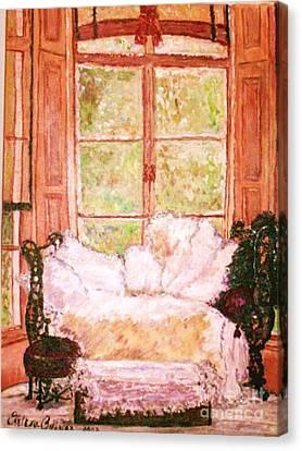 Canvas Print featuring the painting Sophia's Sofa by Helena Bebirian