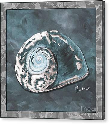 Sophisticated Coastal Art Original Sea Shell Painting Beachy Sea Snail By Megan Duncanson Of Madart Canvas Print by Megan Duncanson
