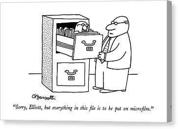 Drawers Canvas Print - Sorry, Elliott, But Everything In This File by Charles Barsotti