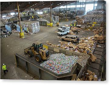 Sorted Waste At A Recycling Centre Canvas Print