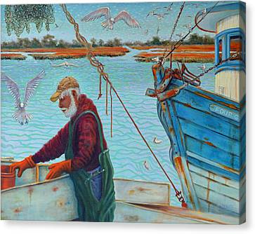 Sorting Shrimp At Frogmore 2 Canvas Print