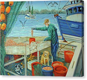 Sorting Shrimp At Frogmore Canvas Print