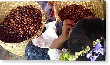 Canvas Print featuring the photograph Sorting Water Chestnuts Zay Cho Street Market 29th Street Mandalay Burma by Ralph A  Ledergerber-Photography