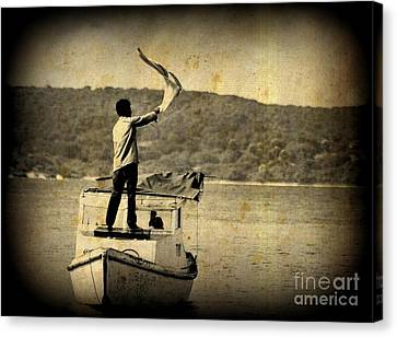 Sos   Need Gas To Get To Shore Canvas Print by John Malone