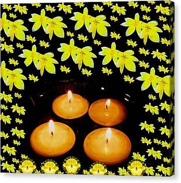 Candle Lit Canvas Print - Soul Meditative Pop Art by Pepita Selles