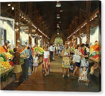 Soulard Market Girl Pulling Wagon Canvas Print