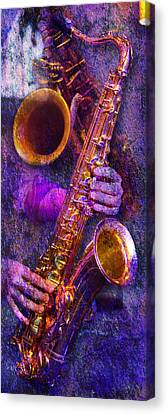 Music Inspired Art Canvas Print - Sound Bites Niche Stacked Sax by Bob Coates