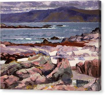 Sound Of Iona  The Burg From The North Shore Canvas Print