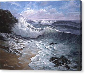 Sounding Waves At Big Sur Canvas Print by Del Malonee