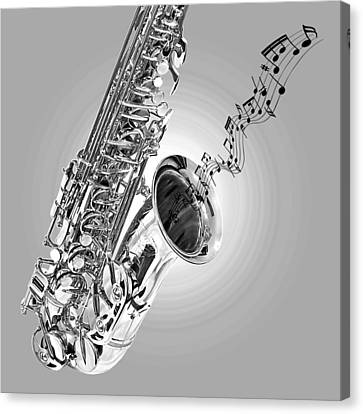 Concert Images Canvas Print - Sounds Of The Sax In Black And White by Gill Billington