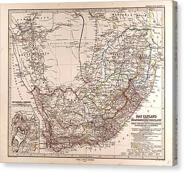 South Africa 1872 Map Gotha Justus Perthes 1872 Atlas Canvas Print by South African School