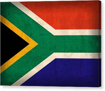 South Africa Flag Vintage Distressed Finish Canvas Print by Design Turnpike
