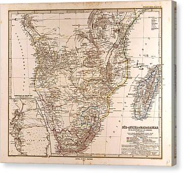 South Africa Madagascar Map Gotha Justus Perthes 1872 Atlas Canvas Print by South African School