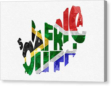 South Africa Typographic Map Flag Canvas Print by Ayse Deniz