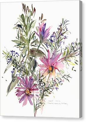 South African Daisies And Lavander Canvas Print by Claudia Hutchins-Puechavy