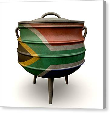 South Africa Canvas Print - South African Potjie Pot Painted Flag by Allan Swart