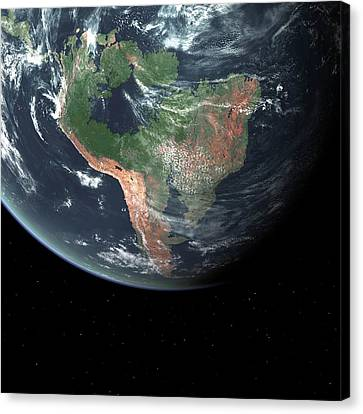 South America With Sea Level Rise Canvas Print