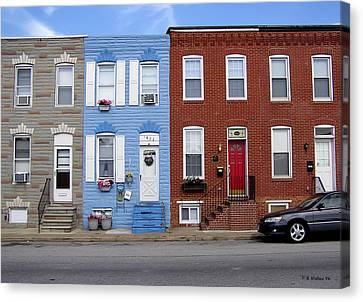 Canvas Print featuring the photograph South Baltimore Row Homes by Brian Wallace