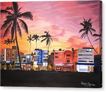 South Beach Ocean Drive Canvas Print by Kevin F Heuman