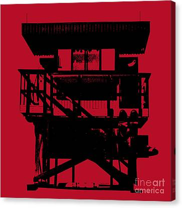Canvas Print featuring the digital art South Beach Lifeguard Stand by Jean luc Comperat
