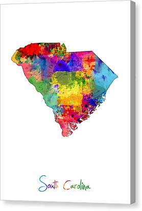 South Carolina Map Canvas Print by Michael Tompsett