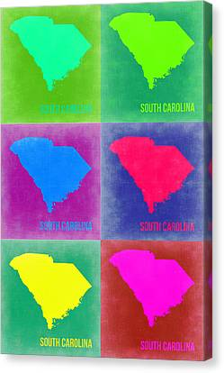 South Carolina Pop Art Map 2 Canvas Print by Naxart Studio