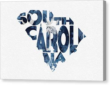 South Carolina Typographic Map Flag Canvas Print by Ayse Deniz
