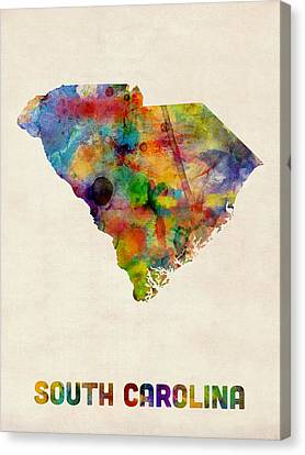 South Carolina Watercolor Map Canvas Print by Michael Tompsett