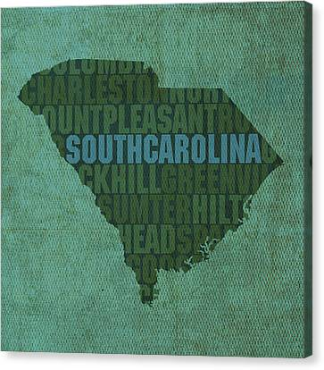 South Carolina Word Art State Map On Canvas Canvas Print by Design Turnpike