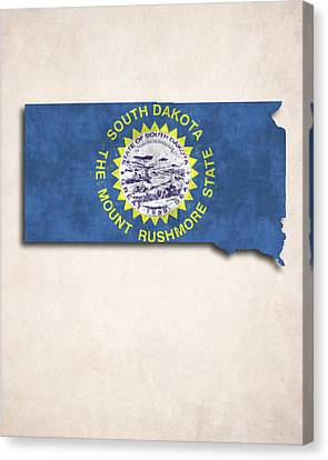 South Dakota Map Art With Flag Design Canvas Print