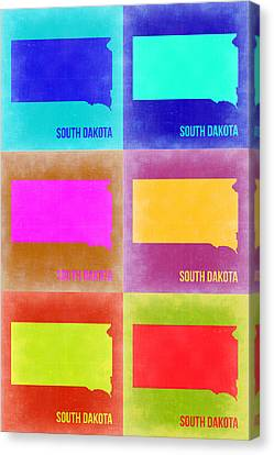 South Dakota Pop Art Map 2 Canvas Print by Naxart Studio
