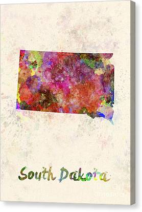 South Dakota Us State In Watercolor Canvas Print