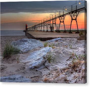 South Haven Beach And Lighthouse Canvas Print