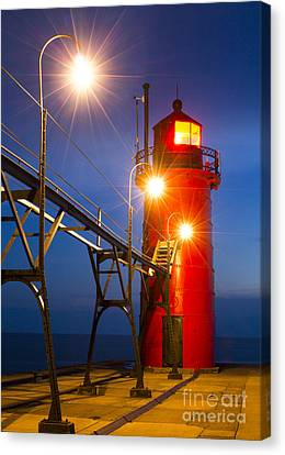 South Haven Light At Night Canvas Print by Twenty Two North Photography