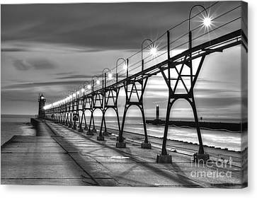 South Haven Light In Black And White Canvas Print by Twenty Two North Photography