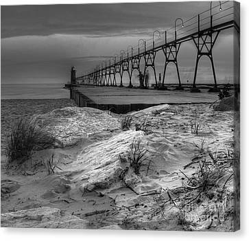 South Haven Lighthouse And Beach Canvas Print by Twenty Two North Photography