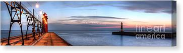 South Haven Pier In Evening Canvas Print by Twenty Two North Photography