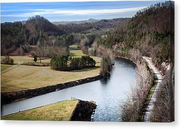 South Holston Dam View Canvas Print by Karen Wiles