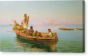 Sicily Canvas Print - South Italian Fishing Scene by Pietro Barucci