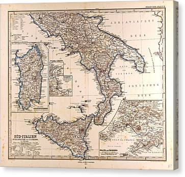 South Italy Map Gotha Justus Perthes 1872 Atlas Canvas Print
